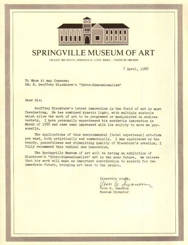 Art of R. Geoffrey Blackburn Springiville Museum of Fine Art letter