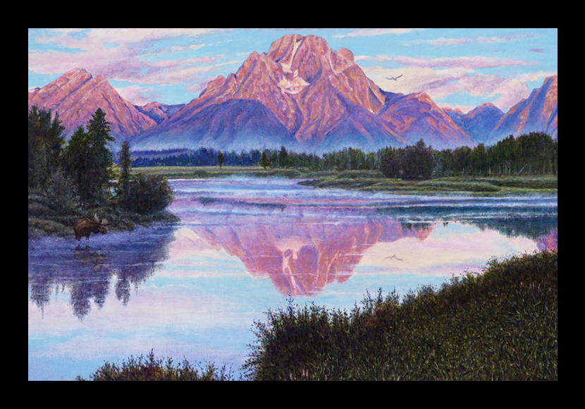 "R. Geoffrey Blackburn""Teton Dawn"" oil painting"