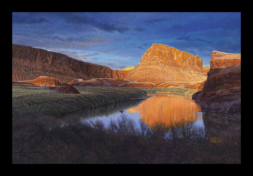 "R. Geoffrey Blackburn ""Twilight on the Colorado"" oil painting"